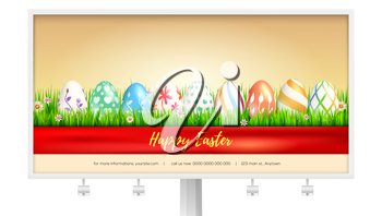 Concept of billboard design with easter eggs for Happy Easter holidays. Banner with handwritten text wrapped red ribbon. Template of poster for spring season with buds of flower in green grass