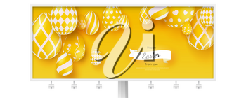 Billboard with poster of Happy Easter holidays. Creative banner in trendy minimalistic yellow color, vintage ribbon and design of greetings text. Easter eggs in modern three-dimensional style