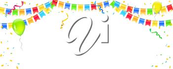 Vector banner with streamers, confetti and garlands of multi colored hanging flags. White background for birthday, carnival, celebration, anniversary and holiday party. Colorful explode of confetti