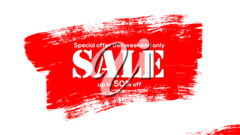 Sale. Creative banner for sales with discounts. Large brush strokes of red acrylic paint isolated on white background. Get up to fifty percent discount. Realistic brushstrokes texture