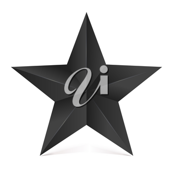 Volumetric five-pointed star with shadow. Icon of classic black star on white white background, 3D illustration.
