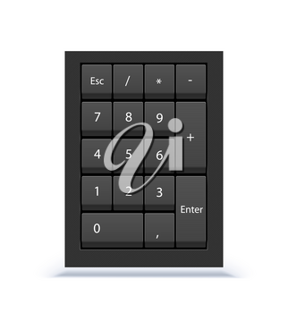Numeric keypad, close up view. Numpad with numbers, computer keys on keyboard on white background.