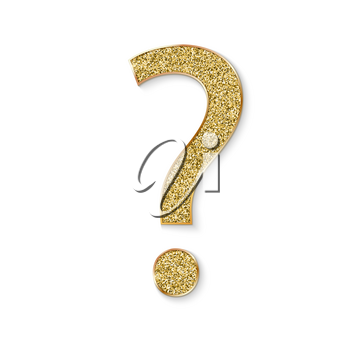 Mark of question with golden dust. FAQ button. Asking questions. Ask for help. Question mark stamp with golden glitter. Need information. Query. 3d vector illustration, EPS10.