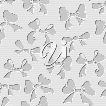 Seamless pattern of paper bows. Monochrome vector illustration for your design.