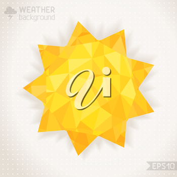 Yellow mosaic sun with place for your text. Retro design.
