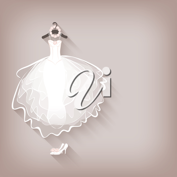 bride dress and wreath - vector illustration. eps 10