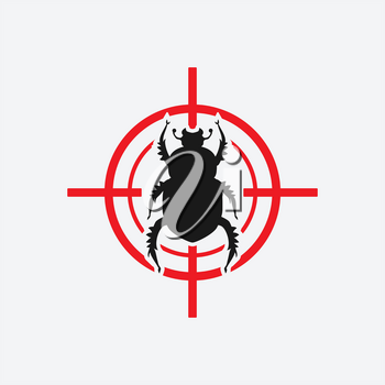 beetle icon red target - vector illustration. eps 8