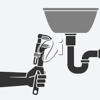 plumber with wrench repairing a leaking pipe. vector illustration - eps 8