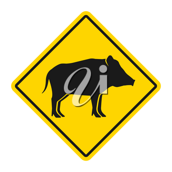 Wild animals yellow rhombus road sign. Silhouette of wild boar. Vector illustration