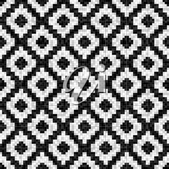 black and white rhombuses mosaic seamless pattern in antique roman style. vector illustration - eps 10