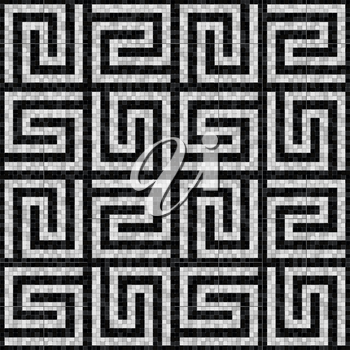 black and white mosaic seamless pattern in antique roman style. vector illustration - eps 10