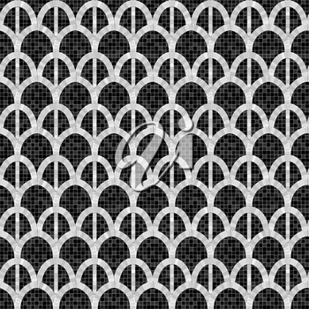 black and white arch mosaic seamless pattern in antique roman style. vector illustration - eps 10