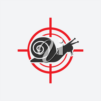Snail silhouette. Animal pest icon red target. Vector illustration