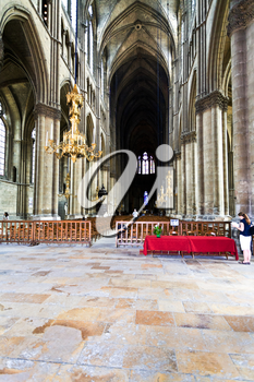 REIMS, FRANCE - JUNE 29: Nave of Cathedral in Reims, France on June 29, 2010. Notre-Dame de Reims is the seat of Archdiocese of Reims, where the kings of France were once crowned.