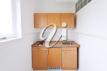 simple kitchen with window and furniture set