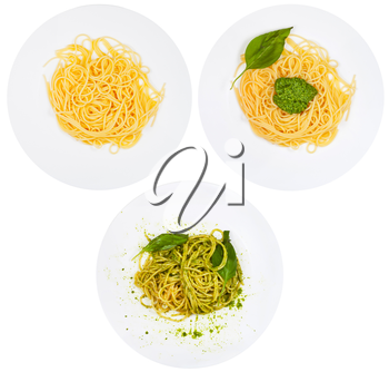 top view on spaghetti with pesto on plate isolated on white background