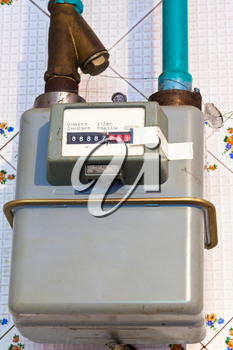 residential gas meter of usual diaphragm style on home flat