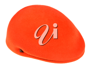 felt orange flat cap isolated on white background