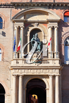 arch and bronze statue of the Bolognese Pope Gregory XIII in Palazzo Comunale (town hall) in Bologna, Italy.
