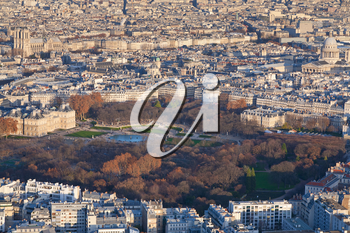 view on Luxembourg gardens and panorama of Paris in winter afternoon