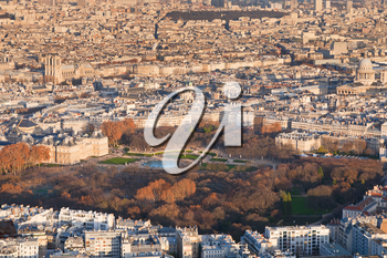 view on Luxembourg gardens and panorama of Paris in winter evening