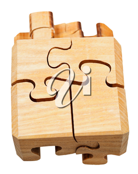 top view of three dimensional wooden mechanical puzzle close up isolated on white background