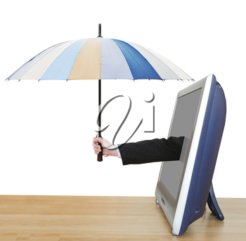 weather forecast - arm with umbrella pops out TV screen isolated on white background