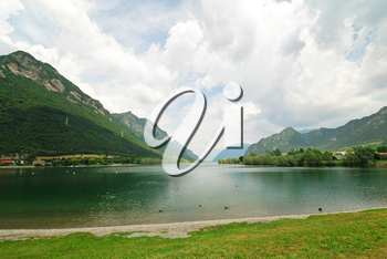 view of Lake lago d idro from Idro town, Lombardy, Italy
