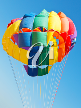 canopy of parachute for parakiting in blue sky