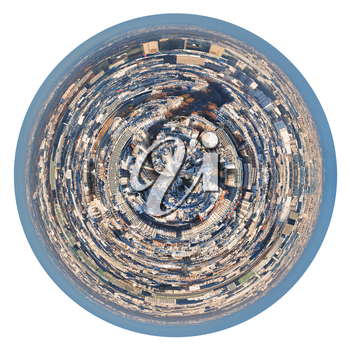 little planet - urban spherical panorama of residential area in Paris isolated on white background