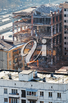 demolition of old apartment house in Moscow