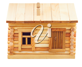 front view of simple village wooden log house isolated on white background