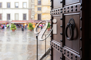 travel to Italy - view from church on piazza in Florence city in rain