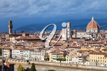 travel to Italy - skyline of Florence city with Cathedral and Palazzo Vecchio from Piazzale Michelangelo