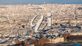 travel to France - panorama of Paris city with Luxembourg garden at winter sunset from Tour Maine - Montparnasse (Montparnasse Tower))