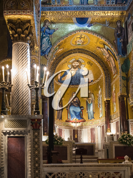 PALERMO, ITALY - JUNE 24, 2011: interior of Capella Palantina (Palatine Chapel) in Palazzo dei Normanni in Palermo. Royal Palace was the seat of the Kings of Sicily during the Norman domination