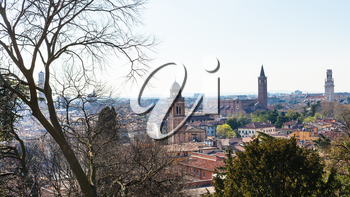 travel to Italy - view of Verona city with urban towers in spring