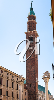 travel to Italy - view of clock tower (Torre Bissara) of Basilica Palladiana in Vicenza city in spring