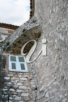 Travel to Provence, France - window in wall of medieval house in town Eze