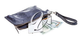 open small blue leather wristlet pouch bag with phone, credit cards and dollars isolated on white background