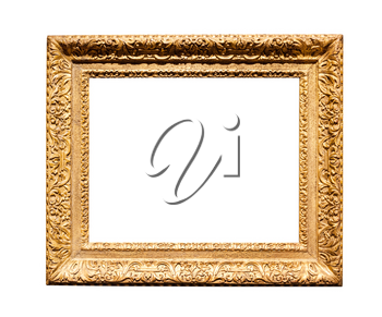 horizontal wide baroque wooden painting frame with cutout canvas isolated on white background