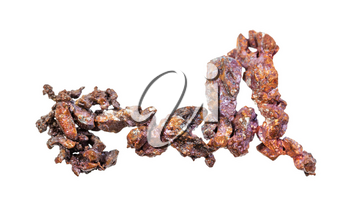 closeup of sample of natural mineral from geological collection - twig of native copper isolated on white background
