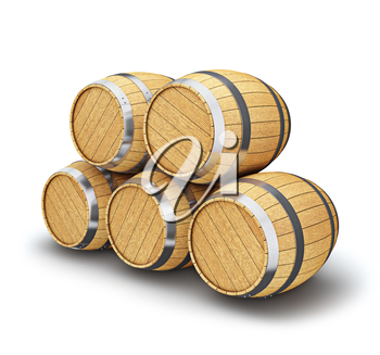 Wooden oak brandy wine storage beer barrels isolated on white background