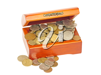 Old wooden chest  with metal coins isolated on white background.