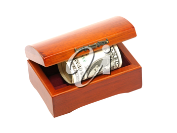 Wooden chest with dollars bill isolated on white background.