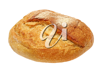 Appetizing crunchy crust bread taken closeup isolated on white background.
