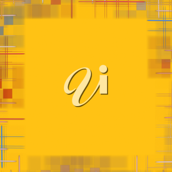 Abstract yellow background with checkered border frame.Digitally generated image.