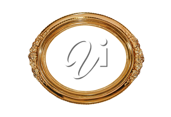 Golden oval picture frame isolated on white background.