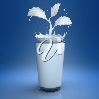 Splash of milk in form of plant