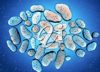Colony of bacteria. 3D illustration